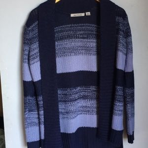 JASON MAXWELL Navy Knitted Open Cardigan